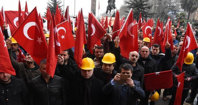 Maden işçilerinden Zeytin Dalı Harekatı'na destek