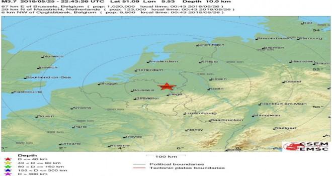 Belçika'nın Limburg eyaletinde 3.7 büyüklüğünde deprem