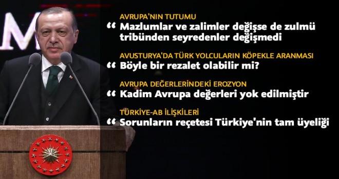 Cumhurbaşkanı Erdoğan: Mazlumlar değişse de zulmü tribünden seyredenler değişmedi