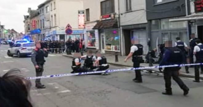 Gent'teki Bevrijdingslaan'da eli bıçaklı saldırgan adam polis kurşunuyla yaralandı