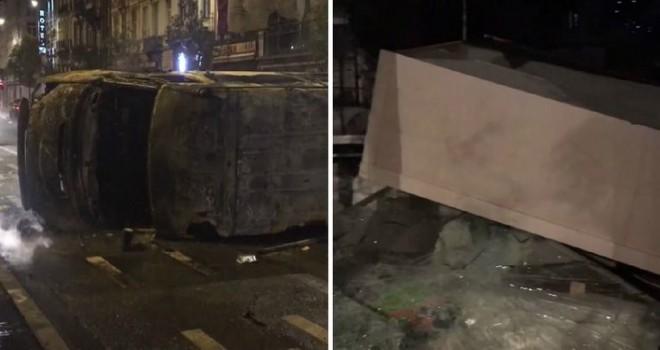 Brüksel'de Fas taraftarları ile polis arasında yaşanan arbede sırasında esnaf büyük hasar gördü