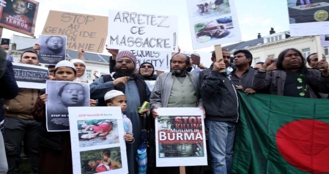 Brüksel'de Arakan Protestosu