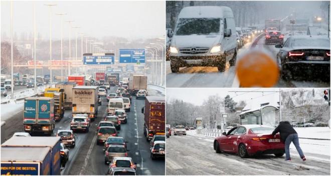 Belçika'da yoğun kar yağışı trafiği kaosa sürükledi. Uzmanlar, sürücülerin bugün araba kullanmamalarını öneriyor